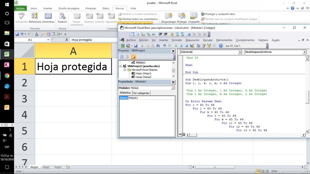 Macro para desproteger hoja de Excel