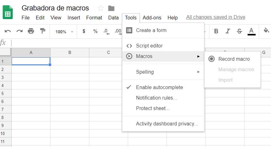 Grabadora de macros en Google Sheets