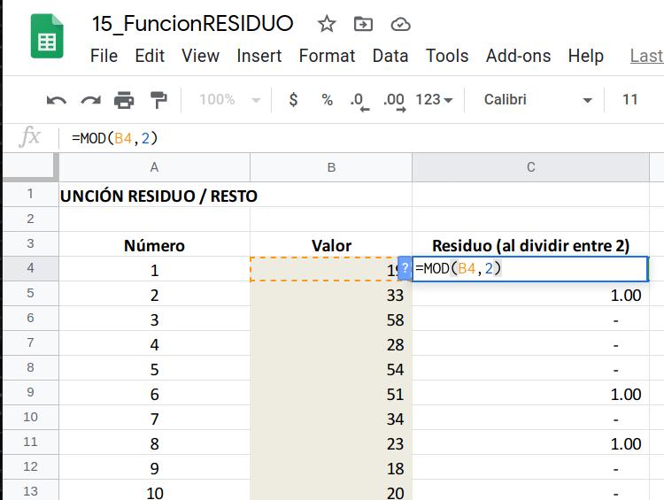 Función RESIDUO en Excel